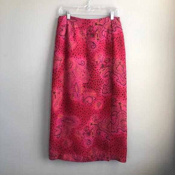 Worthington Paisley 100% Silk Maxi Skirt 10